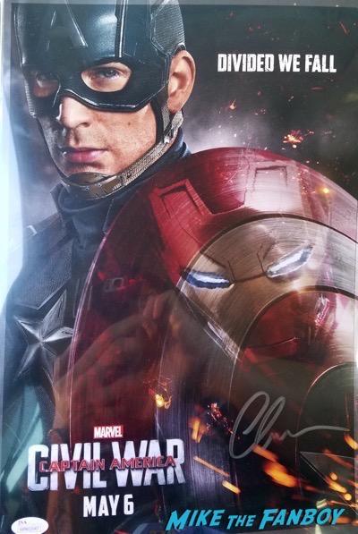 Chris Evans signed autograph Captain American poster psa ACE Comic con