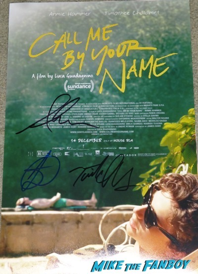 Timothée Chalamet signed autograph call me by your name poster rare promo psa