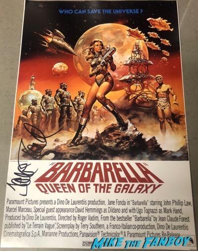 Jane Fonda Signed Autograph Barbarella poster PSA