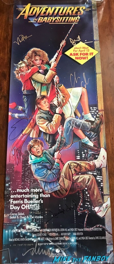 Maia Brewington Keith Coogan adventures in Babysitting video store poster signed autograph
