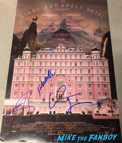 Willem Dafoe signed autograph grand budapest hotel poster