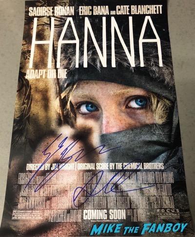 Saoirse Ronan eric banna signed autograph Hanna poster psa