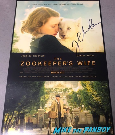 Jessica Chastain signed autograph Zookeeper's wife  poster