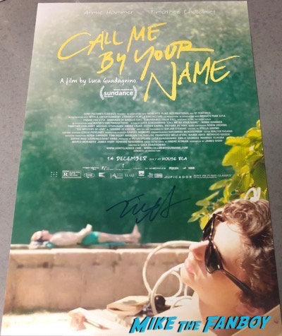 Timothée Chalamet signed autograph call me by your name poster psa