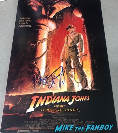 Steven Spielberg Harrison Ford signed autograph Indiana Jones and the Temple of Doom Poster PSA