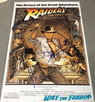 Steven Spielberg Harrison Ford Karen Allen signed autograph raiders of the lost ark poster psa