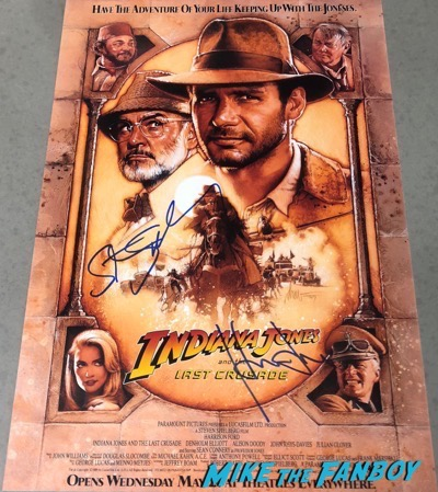 Steven Spielberg Harrison Ford signed autograph Indiana Jones and the Last Crusade poster PSA