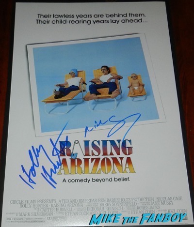raising arizona signed autograph poster holly hunger nick cage PSA