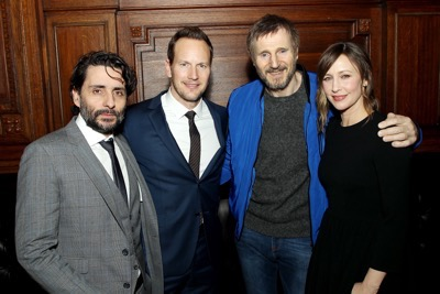 "- New York, NY - 1/8/18 - New York Premiere of LionsGate New Film ""The Commuter""   -Pictured: Jaume Collet-Serra (Director), Patrick Wilson, Liam Neeson, Vera Farmiga -Photo by: Marion Curtis / StarPix -Location: The OAK Room"