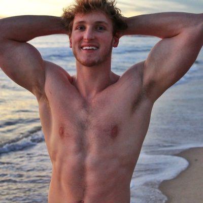 Logan Paul shirtless armpits no shirt muscles, flex hot