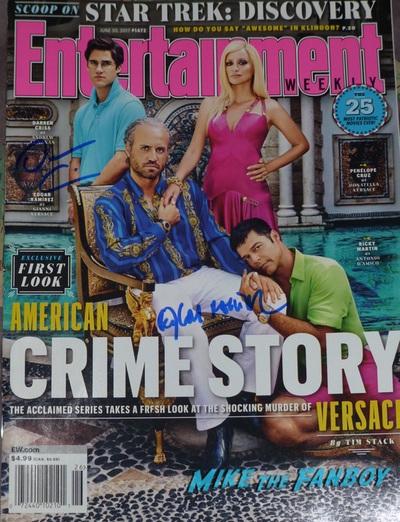 ET Weekly Versace cover signed autograph edgar ramirez darren criss
