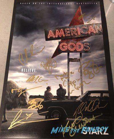 American Gods cast signed autograph poster PSA Beckett