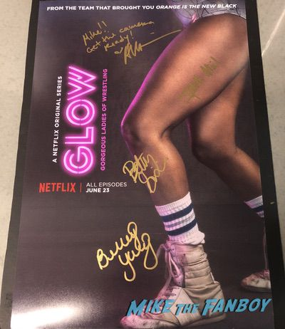 Alison Brie Betty Gilpin Sydelle Noel Brittany Young Signed GLOW poster PSA BeckettAlison Brie Betty Gilpin Sydelle Noel Brittany Young Signed GLOW poster PSA Beckett