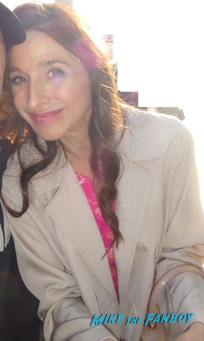 Marin Hinkle signing autographs with fans meeting fans