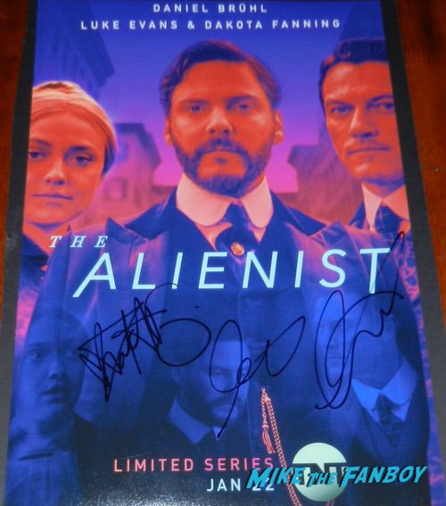 The Alienist cast signed autograph poster luke evans dakota fanning Daniel Brühl PSA