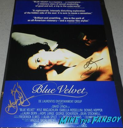 Blue Velvet poster signed by Kyle MacLachlan Laura DernBlue Velvet poster signed by Kyle MacLachlan Laura Dern
