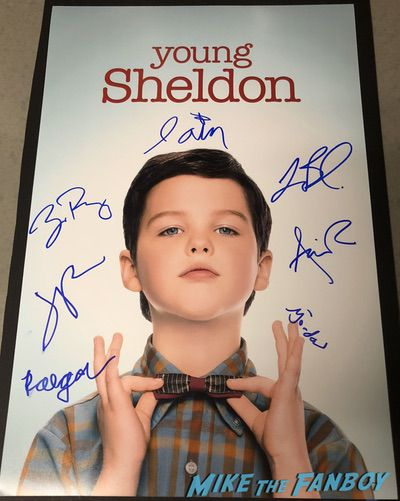Young Sheldon signed autograph poster jim parsons iain armitage