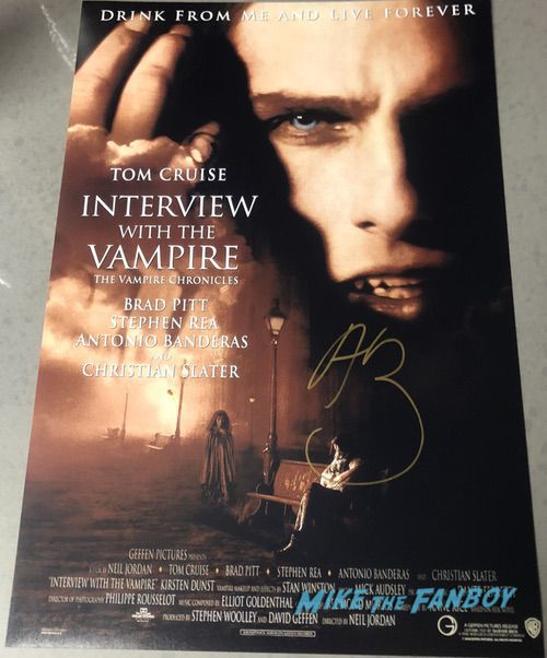 Antonio Banderas signed autograph interview with a vampire poster