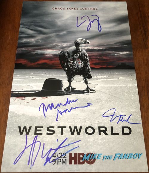 Westworld season 2 signed autograph poster thandie newton james marsden evan rachel wood psa