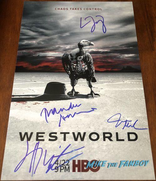 Westworld season 2 signed autograph poster thandie newton james marsden evan rachel wood psa
