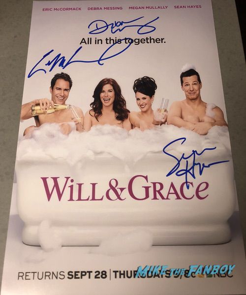 Will & Grace signed autograph poster psa Sean Hayes Eric McCormack Debra Messing