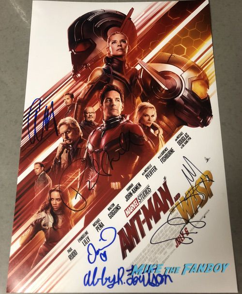 Ant-Man and the Wasp signed autograph movie poster paul rudd
