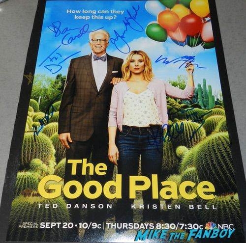 Kristen Bell Ted Danson signed autograph The Good place season two poster psa Kristen Bell Ted Danson signed autograph The Good place season two poster psa