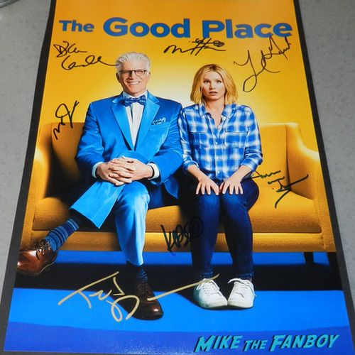 Kristen Bell Ted Danson signed autograph The Good place season one poster psa