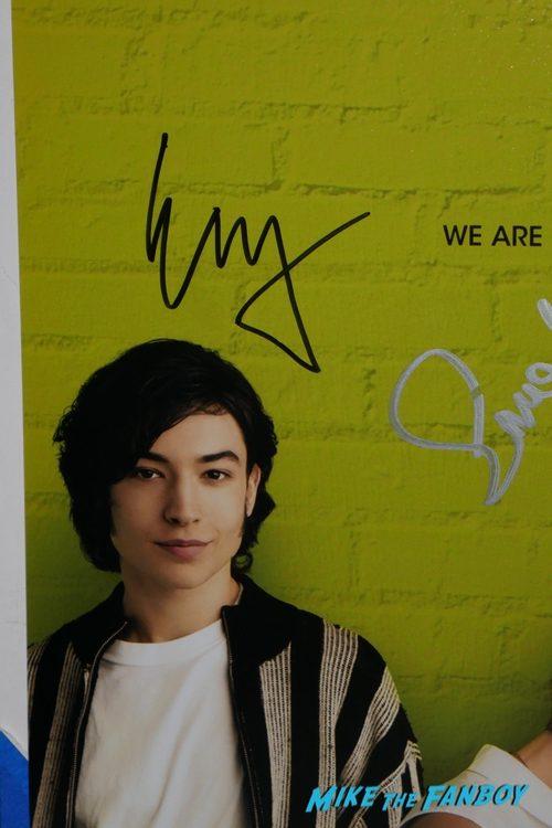 ezra miller signed autograph The Perks of Being a Wallflower poster psa logan lehrman