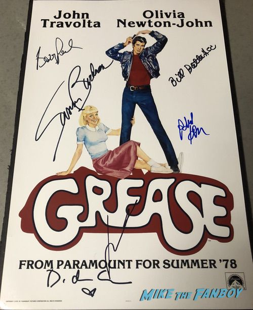 Grease signed autograph teaser poster John Travolta