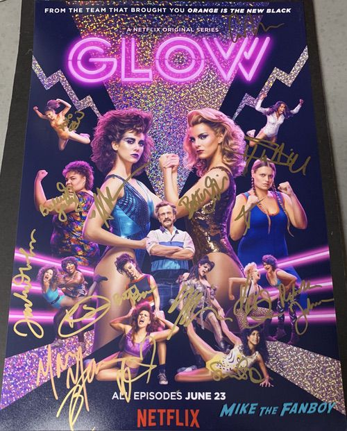 GLOW season 1 promo poster signed autograph Alison Brie Betty Gilpin Kate Nash