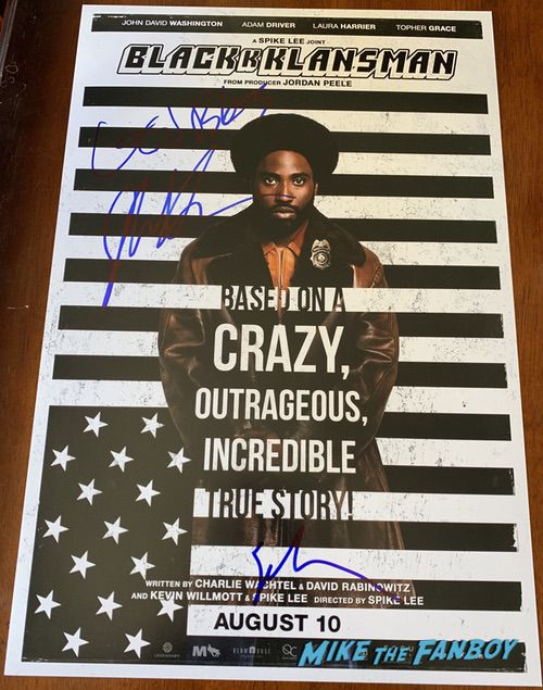 spike lee john david washington signed blackklannsman poster