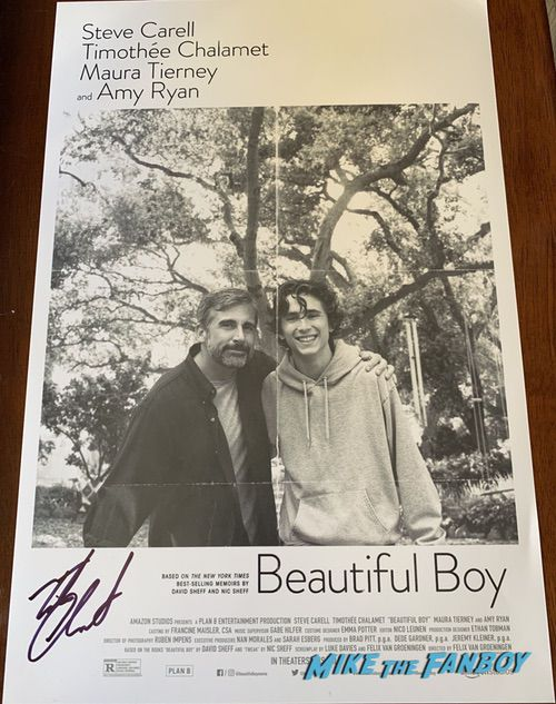 Timothée Chalamet signed beautiful boy poster