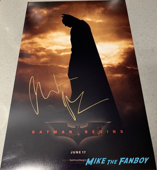 Christian Bale signed autograph batman begins movie poster