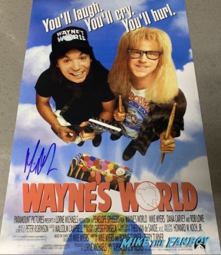 Mike Myers signed autograph Wayne's World vie poster