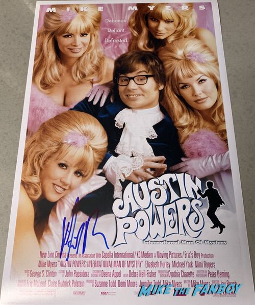 Mike Myers signed autograph Austin Powers movie poster