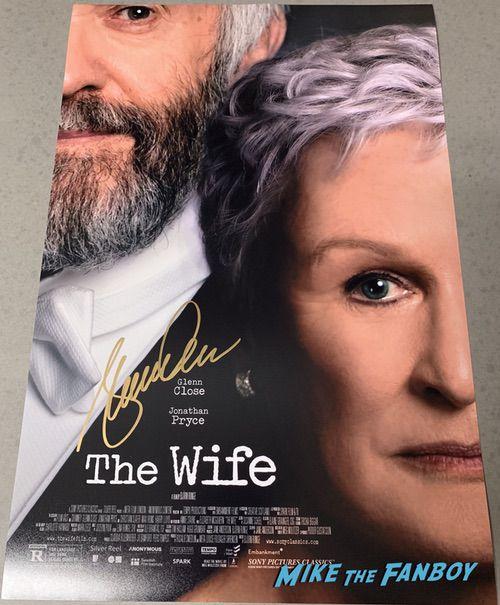 Glenn Close signed autograph The Wife poster psa signature