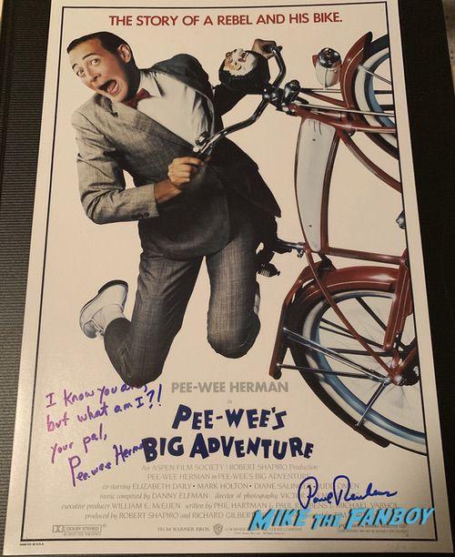 Paul Reubens signed autograph pee wee's big adventure poster psa