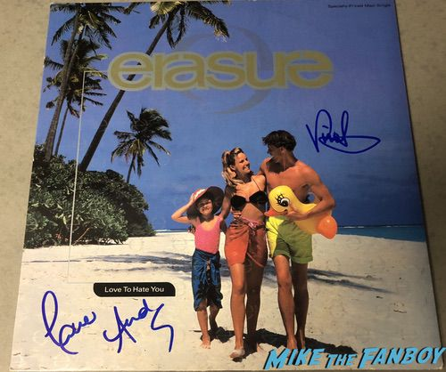 erasure andy bell vince clarke signed autograph lp I love to hate you