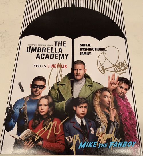 The Umbrella Academy cast signed autograph poster ellen page tom hopper