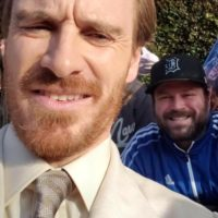 Michael Fassbender with fans Dark Phoenix movie premiere los angeles 0008