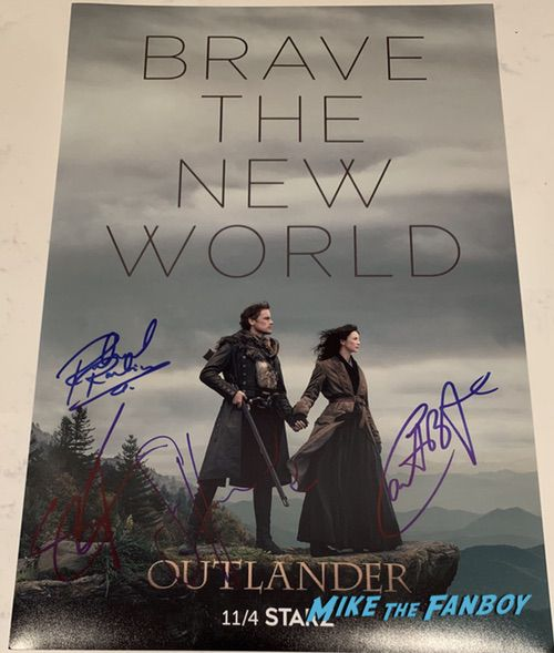 Outlander Cast signed autograph poster sam heughan Caitriona Balfe
