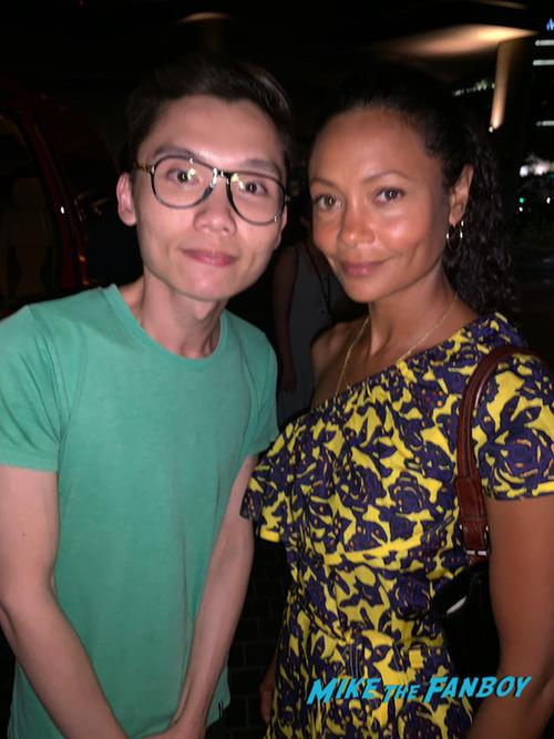 Thandie Newton with fans signing autographs singapore