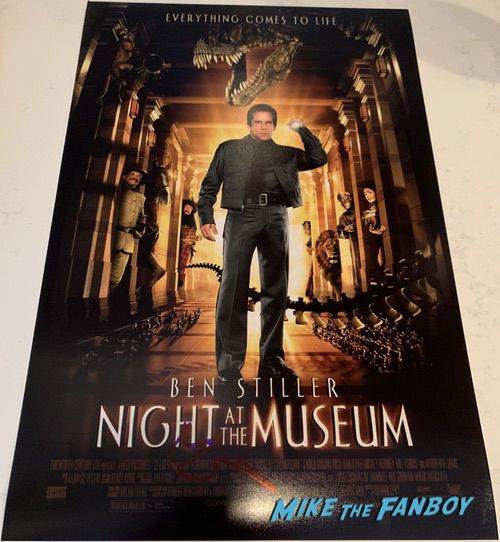Ben Stiller signed autograph night at the museum poster rare