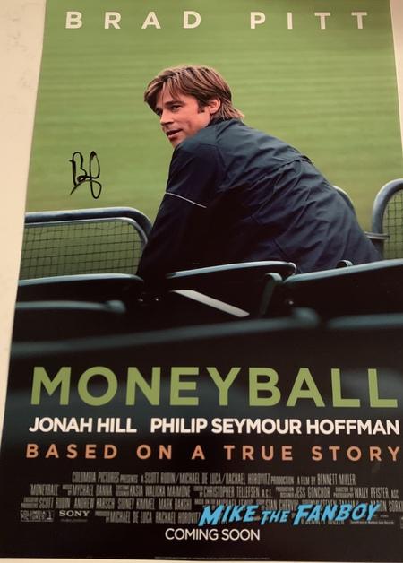 Brad Pitt signed autograph moneyball movie poster psa rare