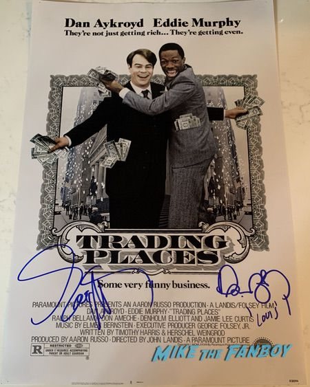 Eddie Murphy dan aykroyd signed trading places poster autograph