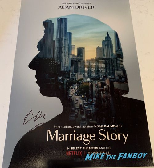 Adam Driver signed Marriage Story Poster