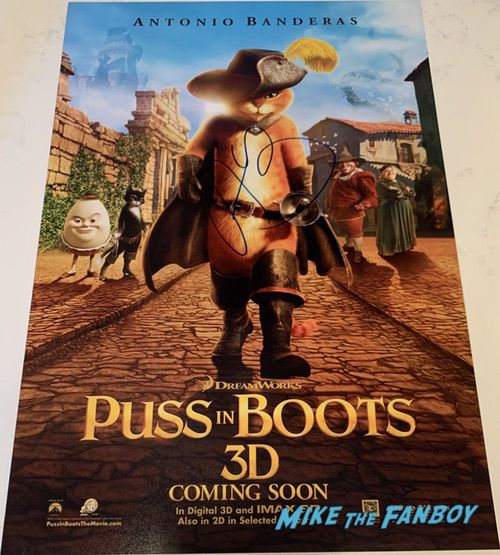 Antonio Banderas signed puss in boots poster