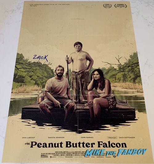 Zack Gottsagen signed peanut butter falcon poster