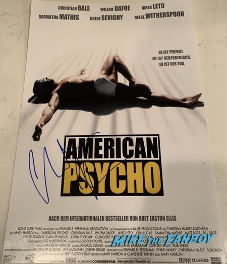 Christian Bale signed american psycho poster shirtless